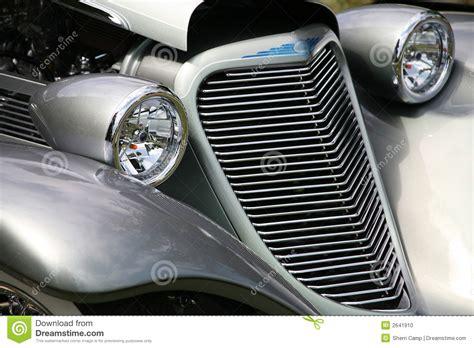 Antique Car Grill Headlights Stock Photo