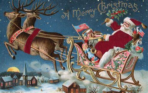 Moonlight & Roses Santa Riding In His Sleigh Wall Board