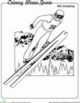 Coloring Ski Winter Jumping Worksheet Sports Pages Olympics Olympic Education Adults Worksheets Sheet Games Lue Read sketch template