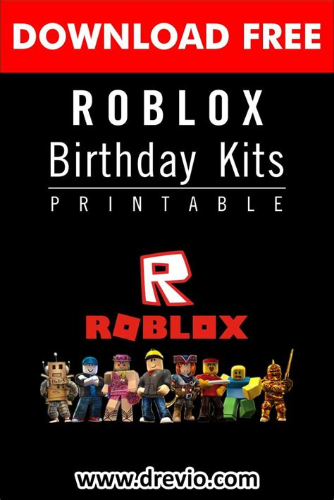 printable roblox birthday party kits templates