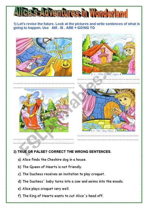 alices adventures  wonderland esl worksheet
