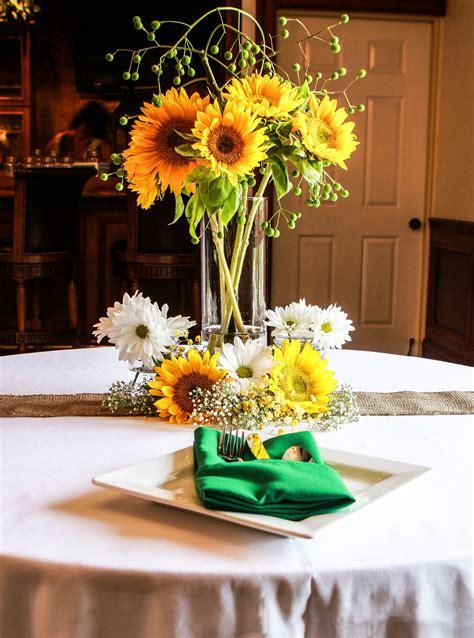 gorgeous tall sunflower arrangement  modern flatware