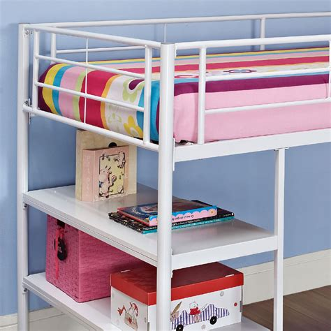 metal bunk bed with desk walker edison metal twin low loft bed with desk and