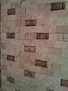 Cork and split face travertine backsplash for Split face travertine kitchen backsplash