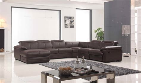 Recliner Sectional Sofas by Large Brown Leather Contemporary Sectional Set With