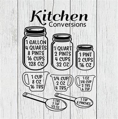 Svg Conversion Kitchen Chart Cricut Measurement Personalized