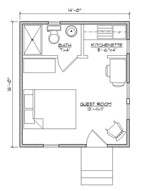 small house plan for outside guest house make that a murphy bed with bookcases built in