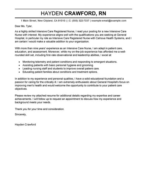 Resume For Nurses Template Leading Professional Intensive Care Cover Letter Exles Resources Myperfectcoverletter