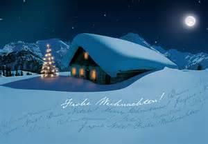 blumen zur hochzeit weihnachtskarte in nächtlicher gebirgslandschaft mit berghütte weihnachten weihnachtskarten
