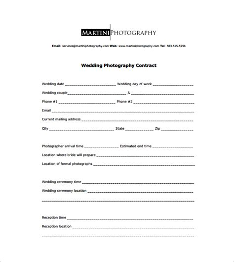 wedding contract template photography contract 9 free documents in word pdf