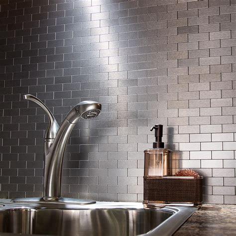 kitchen backsplash stick on peel and stick matted metal backsplash tiles aspect