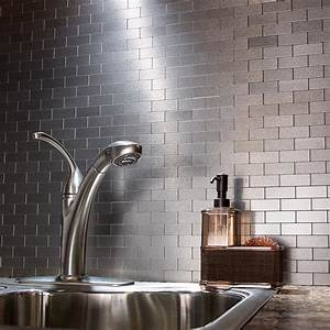 Peel and stick matted metal backsplash tiles aspect for Stainless steel subway tile backsplash peel and stick