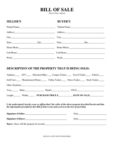 Blank Simple Printable Bill Of Sale Form Template Pdf