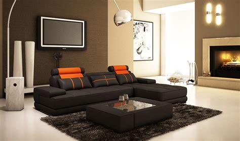 meuble de rangement chambre deco in canape d angle moderne cuir noir et orange