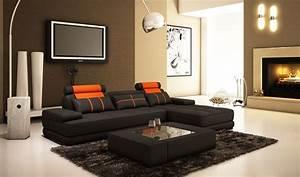 Canapé D Angle Noir : deco in paris canape d angle moderne cuir noir et orange alix ii alixii noir oange ~ Teatrodelosmanantiales.com Idées de Décoration