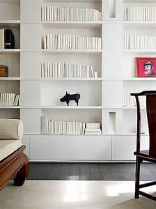 Deco Murale Blanche : am nager une biblioth que murale dans son salon quelle couleur choisir ~ Teatrodelosmanantiales.com Idées de Décoration