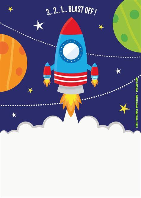 printable spaceship rocket ship invitation template