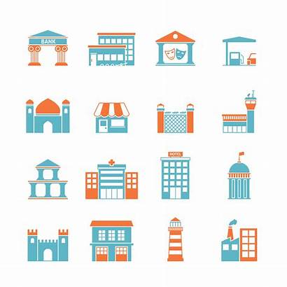 Vector Government Buildings Icons Icon Factory Macrovector