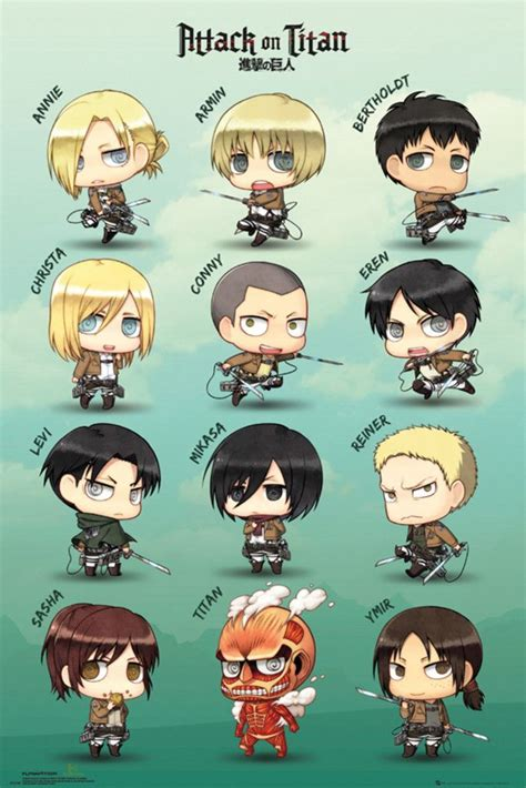 attack  titan chibi characters official poster