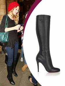 Taylor Swift Boots black lambskin round toe red sole ...