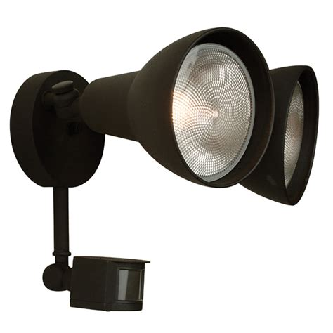 matte black two light outdoor flood light with motion