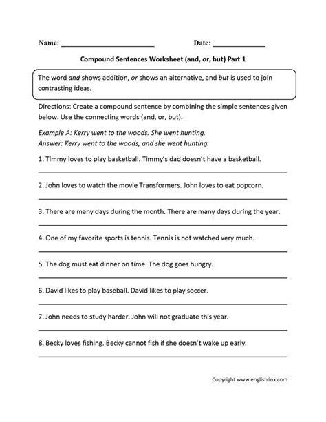 compound sentences worksheet complex