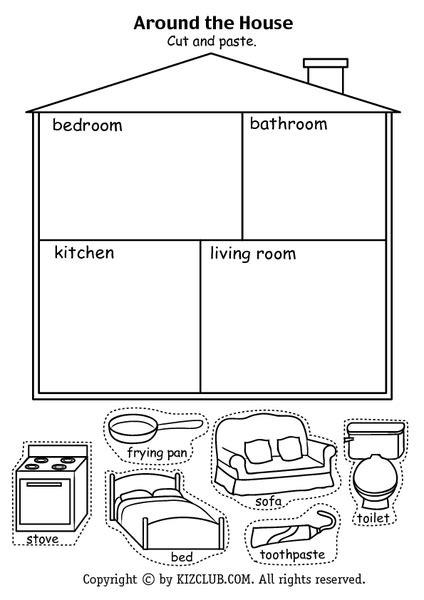 house cut  paste lesson plan