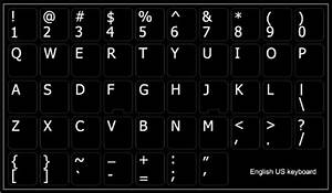 English us non transparent keyboard sticker on black for Computer keyboard letter stickers