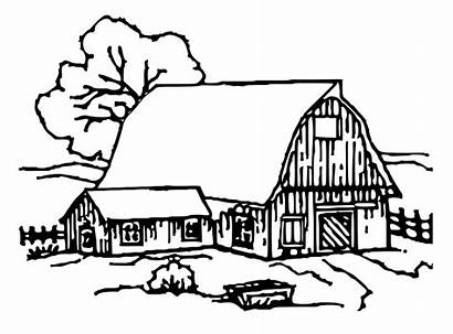 Barn Coloring Pages Clipart Printable Cartoon Template