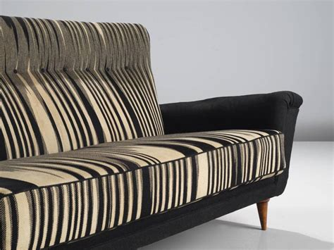 black and white settee italian striped black and white settee circa 1950 for