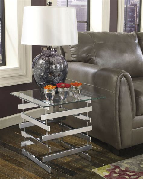 Lighted End Tables Living Room Furniture by Chrome Finish Contemporary Square End Table Glass