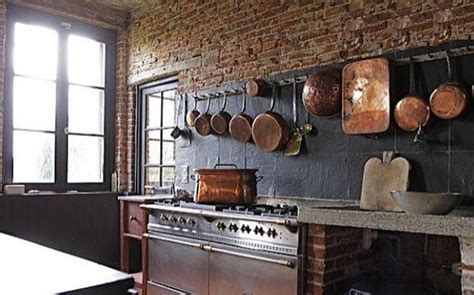 modern kitchen decor  brick walls  interior