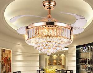 Rose Gold Led Crystal Ceiling Invisible Fan Light Lamp Luxury Chandelier 42 U0026quot