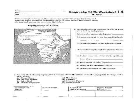 geography skills worksheet worksheets for all