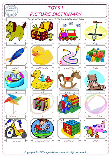 toys esl printable english vocabulary worksheets
