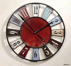 Horloge Murale Rouge : horloge murale ancienne rustique rouge bleu diam tre 75 cm ebay ~ Teatrodelosmanantiales.com Idées de Décoration