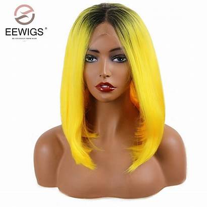 Yellow Wigs Ombre Short Wig Synthetic Lace