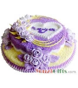 china gifts 蛋糕 普罗旺斯 双层鲜奶蛋糕 紫色奶油花装饰 游子礼品网