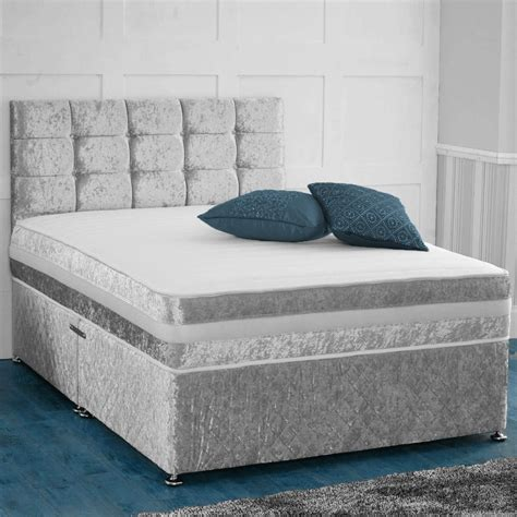 bed with mattress crushed velvet divan bed with bed storage