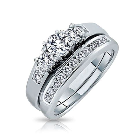vintage engagement rings for sale 925 silver past present future cz engagement wedding ring set