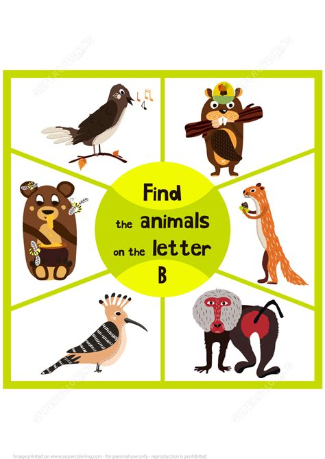 3 letter animals find 3 animals on the letter b free printable puzzle 20059   find 3 animals on the letter b puzzle game