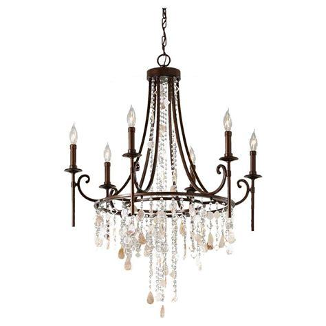 single chandelier feiss cascade 6 light heritage bronze single tier