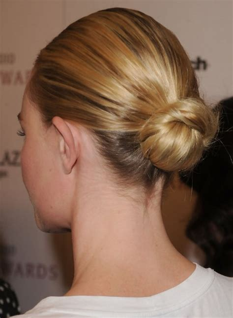 Hairstyles Bun Updos by Back View Of Sleek Bun Updo Hairstyle Hairstyles Weekly