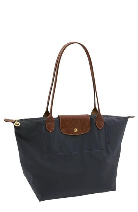 lyst longchamp le pliage large shoulder bag  blue