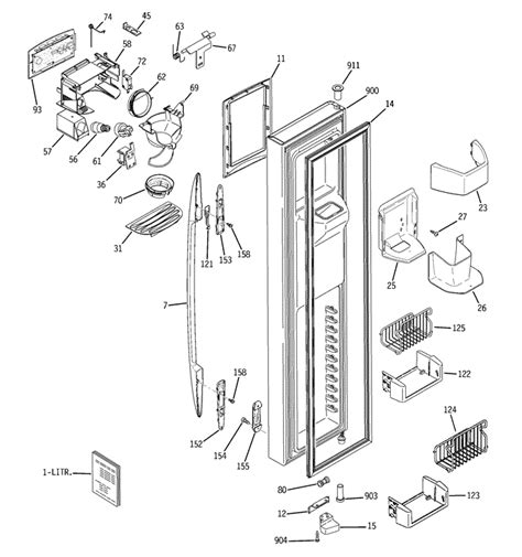 ge profile side  side refrisgerator   water  ice dispenser   freezer