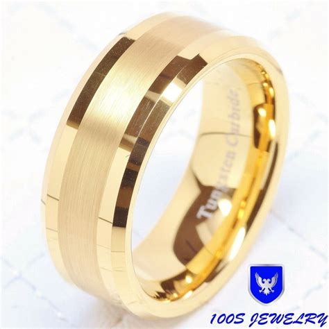 mens tungsten carbide ring wedding band  gold mm