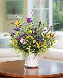 Pansy & Wildflower Silk Flower Centerpiece at Petals