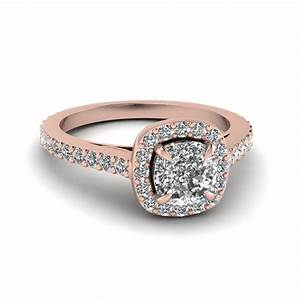 Cushion Cut Diamond Engagement Ring In 14K Rose Gold ...