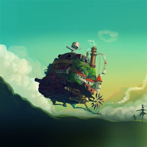 Anime Illustration Wallpaper - i papers at57 studio ghibli castle anime green