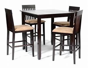 Ensemble Table Haute 4 Chaises Hautes Wengu Et Beige